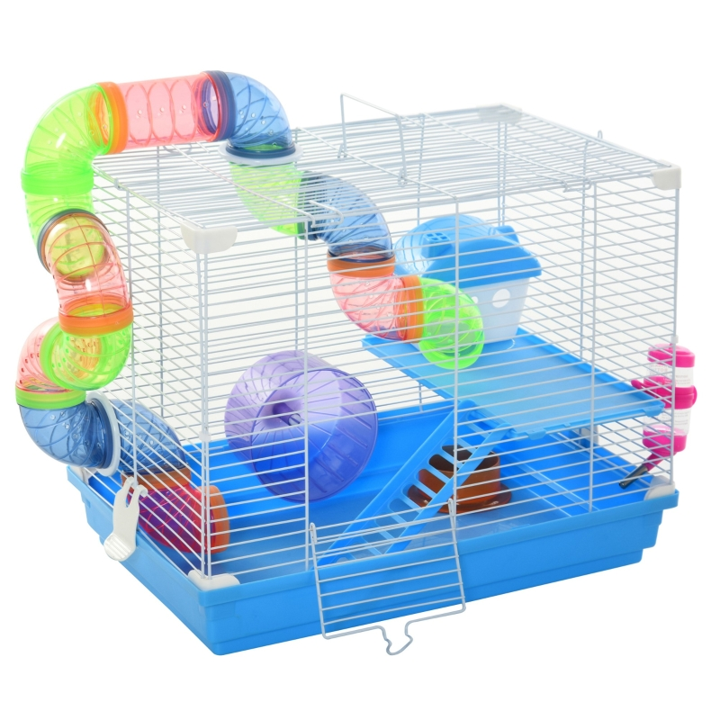 PawHut Hamster Cage Carrier Small Animal House with Exercise Wheels Tunnel Tube