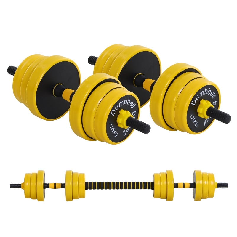 HOMCOM Adjustable 25KGS Barbell & Dumbbell Set Ergonomic Fitness Exercise in Home Gym and Sports Area Plate Bar Clamp Rod