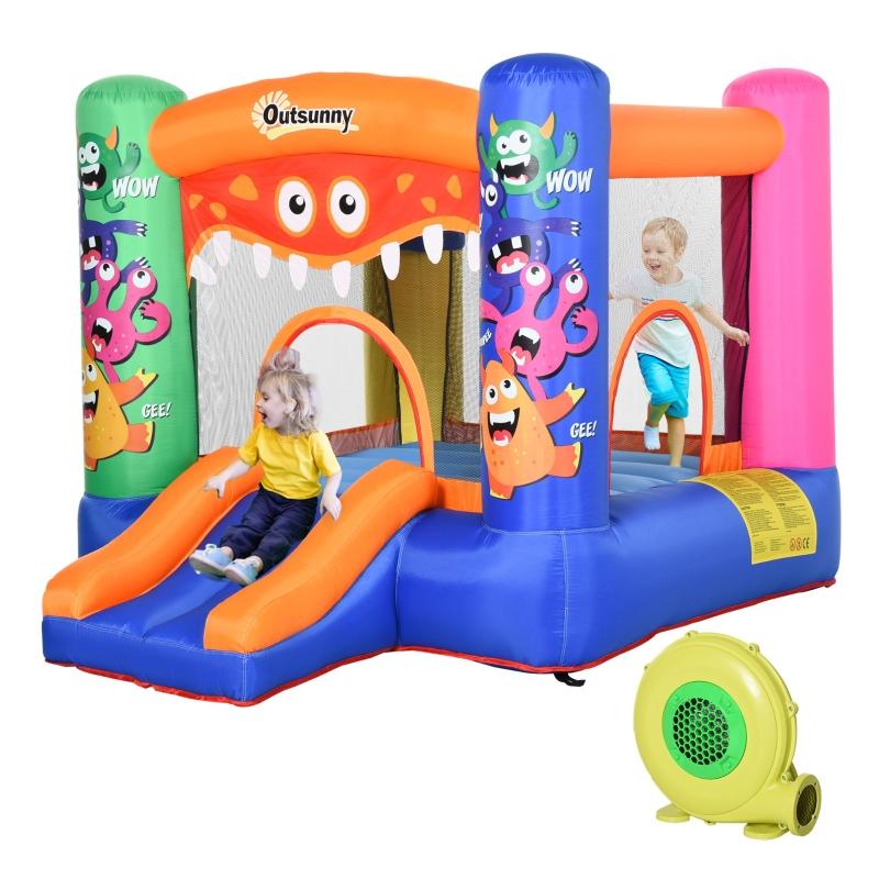 Outsunny Bounce Castle Inflatable Basket Trampoline Slide Monster Design 2.9 x 2 x 1.55m