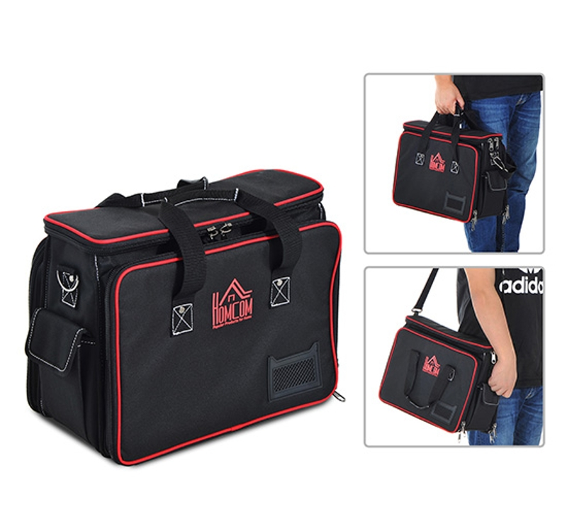 HOMCOM 600D Polyester Heavy Duty Tool Organiser Storage Bag Black