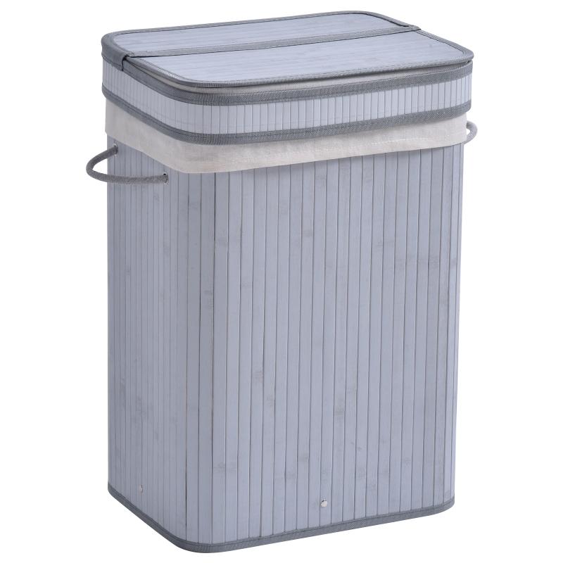 HOMCOM 70L Flip Lid Bamboo Laundry Basket Grey