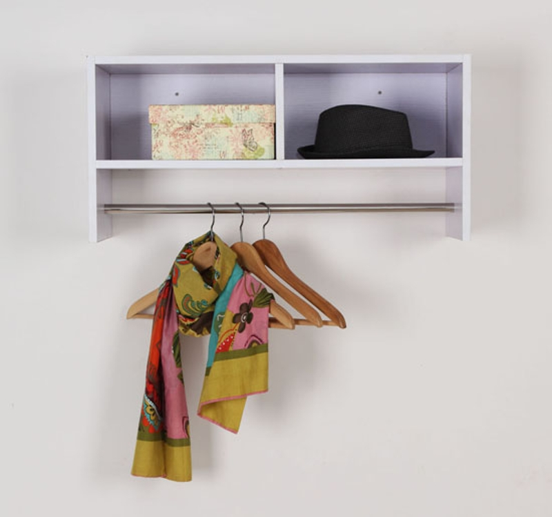 HOMCOM Wall Mounted Coat Hook W/ Shelf-White