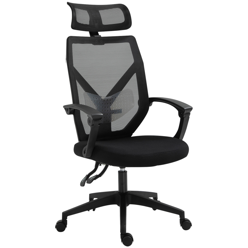 Vinsetto Mesh Ergonomic Home Office Chair w/ Headrest Black