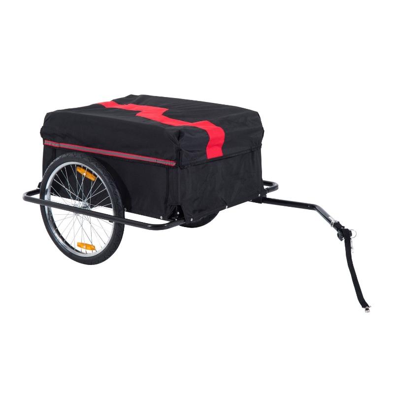 HOMCOM Bike Cargo Trailer W/Removable Cover-Red/Black