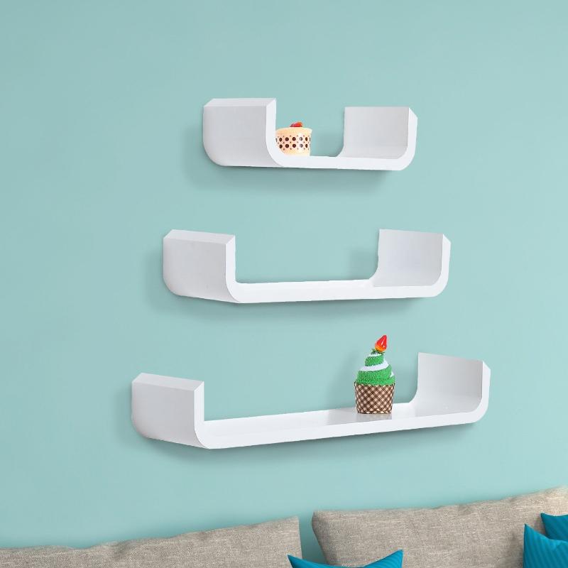 HOMCOM 3 pcs U Shaped Shelves Set-White