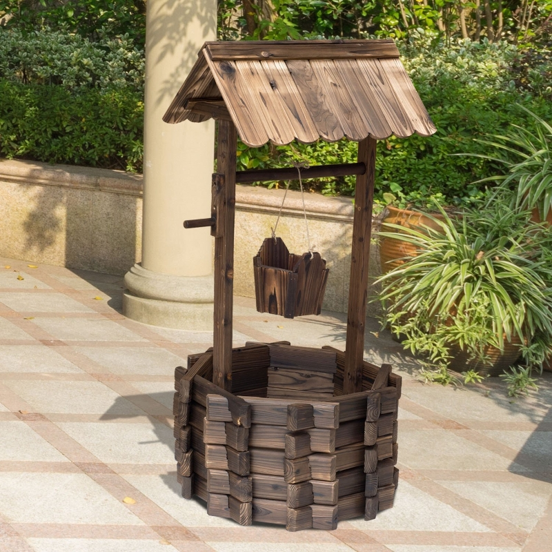 Outsunny Wishing Well Planter Bucket,  60Lx55Wx 114H cm-Brown