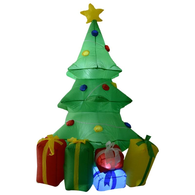 HOMCOM 1.5m Inflatable Christmas Tree Decoration W/LED lights Polyester Fabric - Multicolour