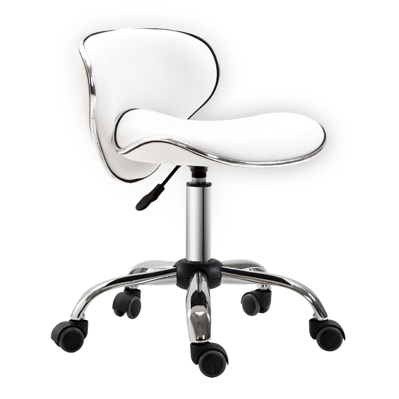 HOMCOM PU Leather Rolling Swivel Salon Stool with Backrest White