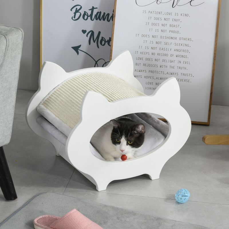 PawHut Cat Removable Scratching Pad Hideout House White