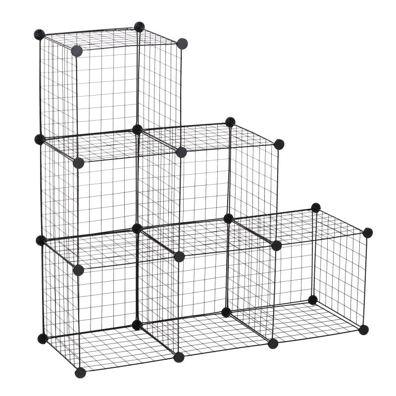 HOMCOM DIY 6 Cube Wire Storage Cabinet Organiser, 111L x 37W x 111Hcm-Black