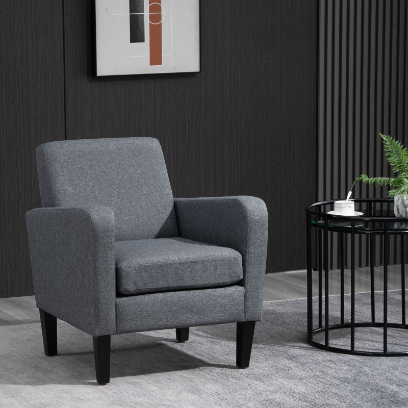 HOMCOM Linen Modern-Curved Armchair Accent Seat w/ Thick Cushion Wood Legs Grey