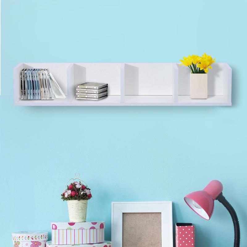 HOMCOM 95Lx17Wx16.5H cm Multi-Media Wooden Shelf-White