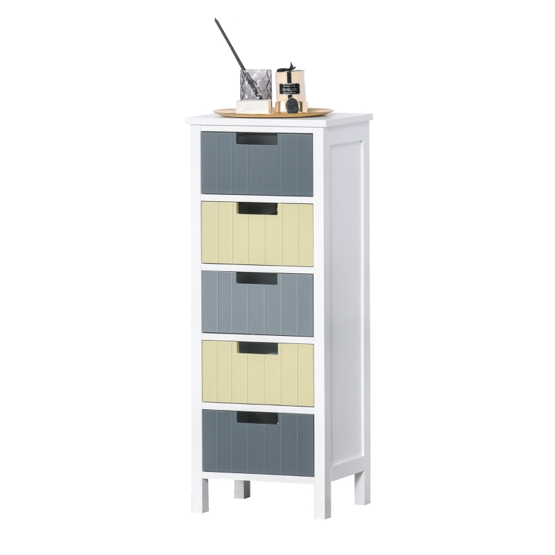 HOMCOM Chest of Drawers Storage Side Cabinet w/ 5 Detachable Drawers Home Furniture