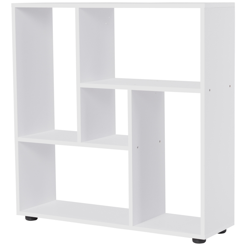 HOMCOM Particle Board 5-Unit Grid Bookcase w/ Melamine Foot Pads White