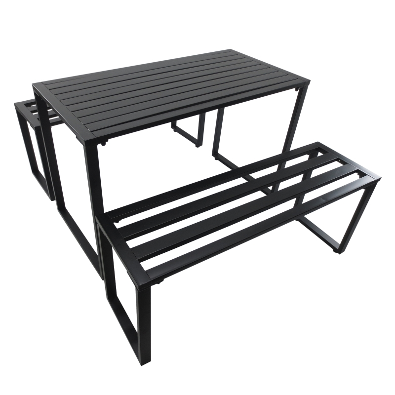 Outsunny 3Pcs Metal Beer Table Bench Set Patio Folding Picnic Desk Chair Garden Yard