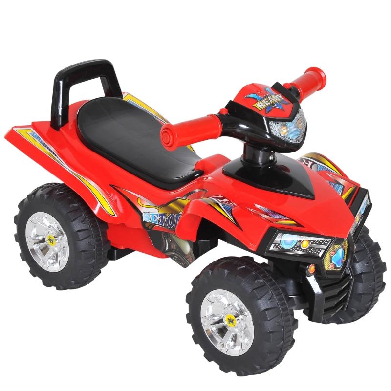 HOMCOM Kids Ride On Quads Boys Girls LED Lights Horn Music Toys Racing Car 4 Wheels Red