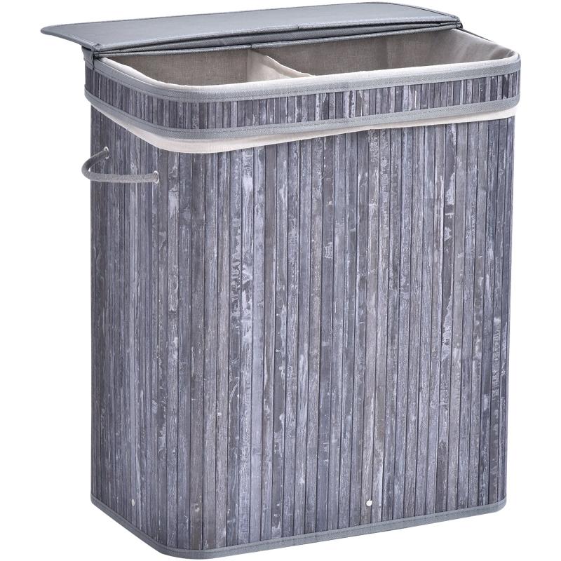 HOMCOM 100L 2-Compartment Bamboo Laundry Basket Grey