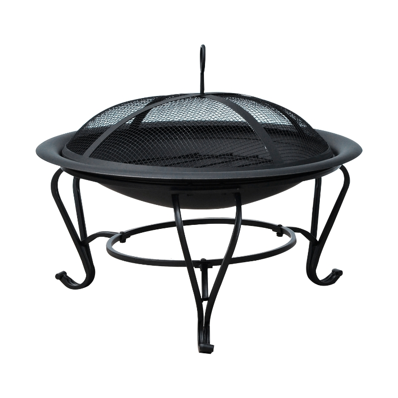 Outsunny Outdoor Fire Pit Wood Burning Heater Poker Mesh Lid Garden Patio Round Camping