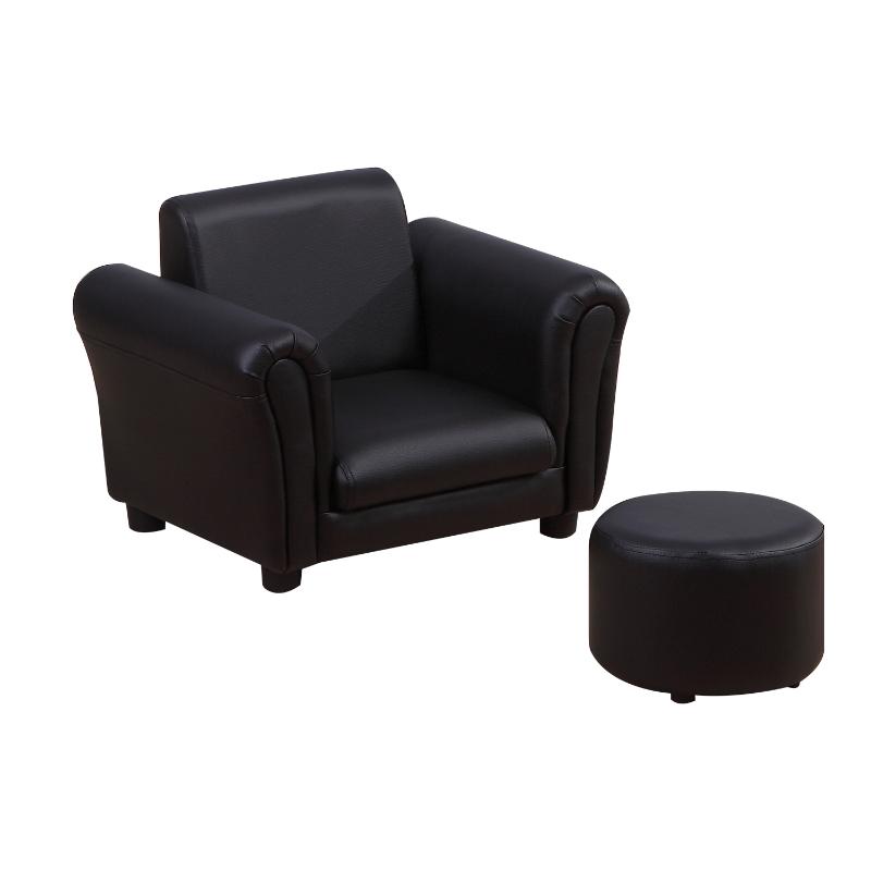 HOMCOM Children's PVC Single Seater Armchair with Footstool Black
