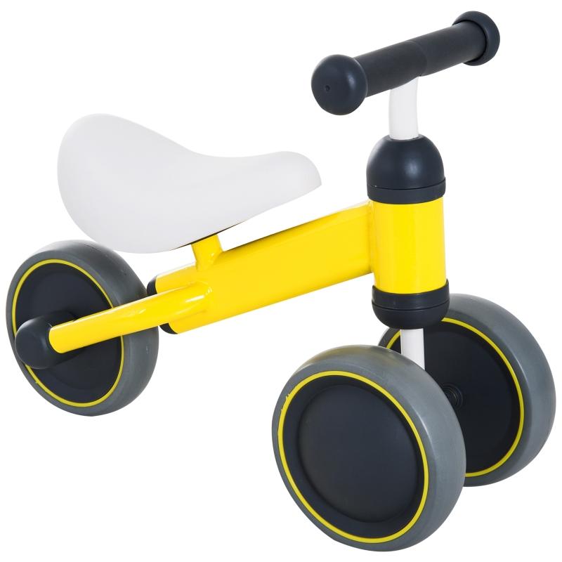HOMCOM Toddler Plastic No-Pedal Walking Balance Bike Yellow