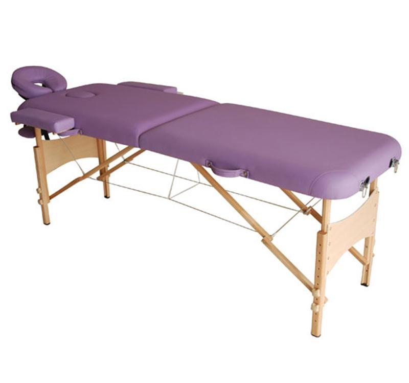 HOMCOM Portable Folding Massage Table, 2 Sections-Purple