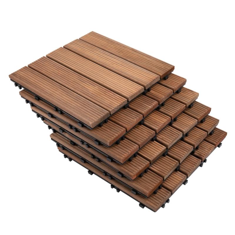 Outsunny 27 Pcs Floor Tiles Interlocking Solid Wood DIY Deck Tiles Indoor Outdoor