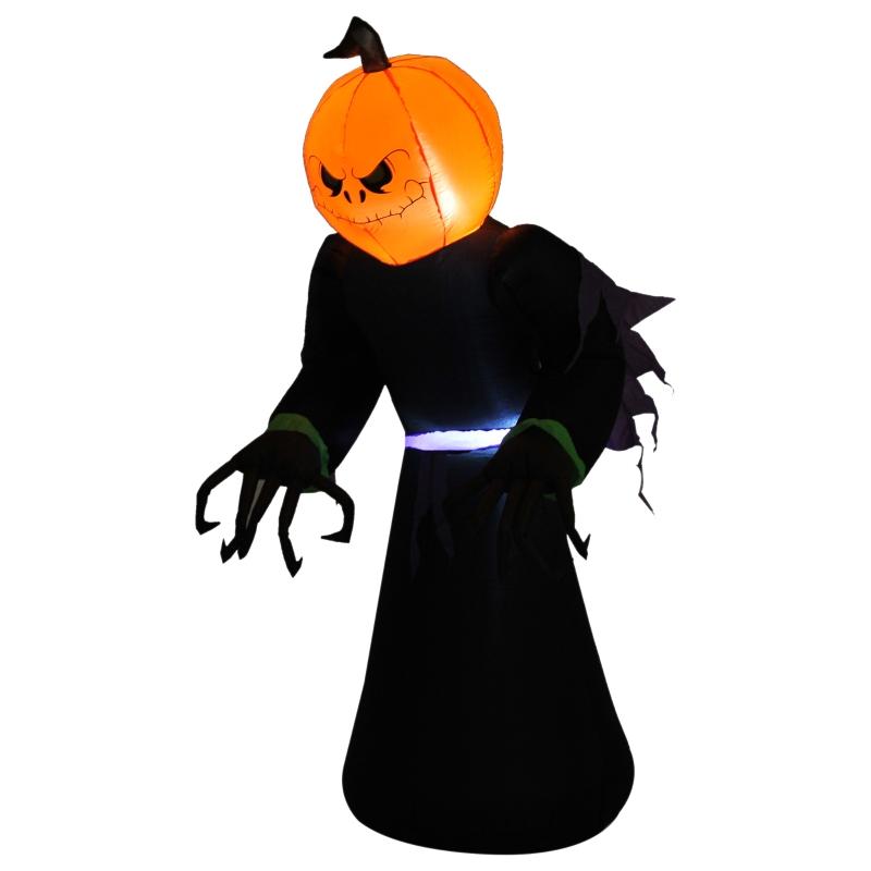 HOMCOM Inflatable 2.1m Pumpkin Man Halloween Decoration W/LED lights Polyester Fabric - Multicolour