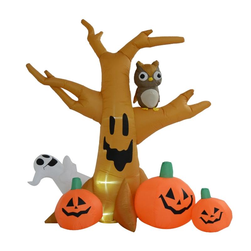 HOMCOM Halloween Inflatable Tree W/Pumpkins LED Lights