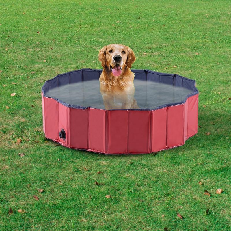 Pawhut Φ160 x 30H cm Pet Swimming Pool - Red/Dark Blue PVC