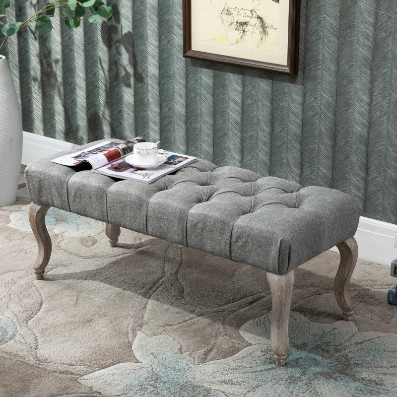 HOMCOM Tufted Upholstered Accent Bench Window Seat Fabric Ottoman Bed End Stool
