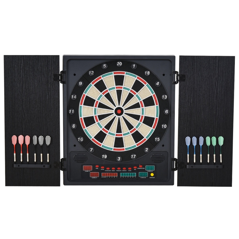 HOMCOM MDF LED Electronic Dartboard w/ 12 Darts