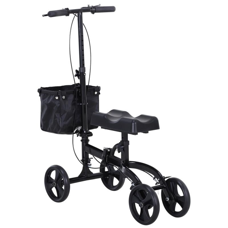 HOMCOM Metal Foldable Medical Knee Rest Walker Scooter w/ Storage Basket Black