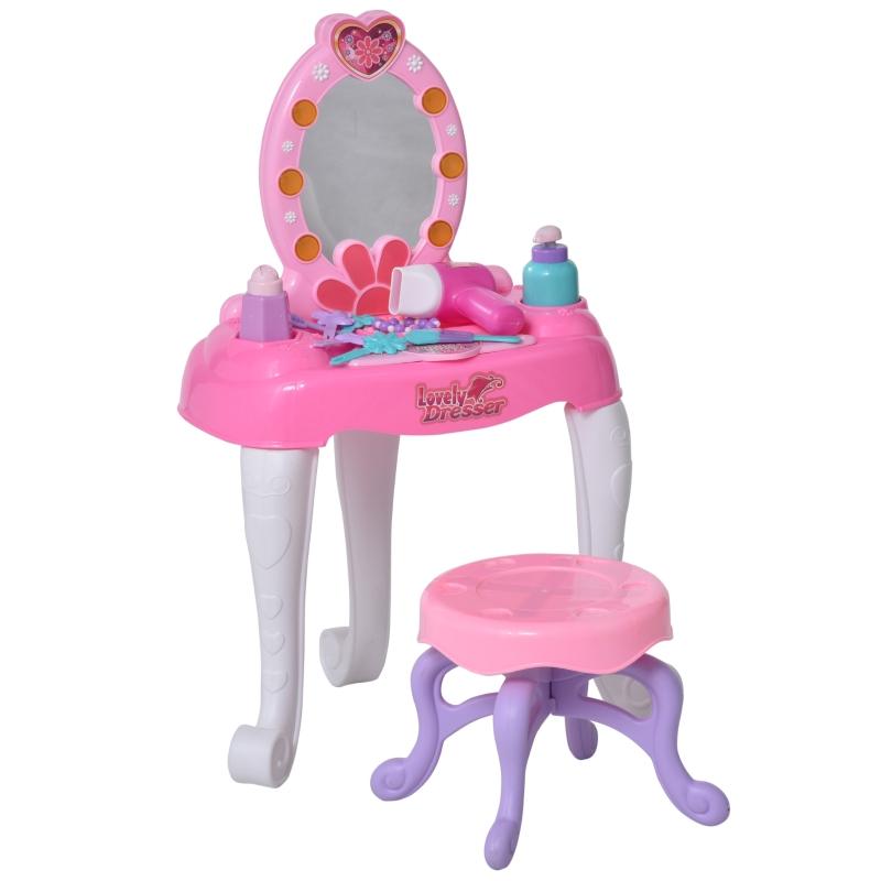 HOMCOM Kids Pretend Play Plastic Vanity Table Set Pink/White