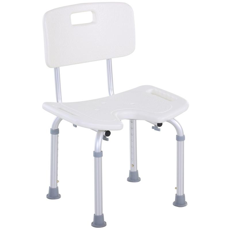 HOMCOM Shower Chair Bath Stool Aluminium-Alloy Mobility Aid Adjustable Shower Stool