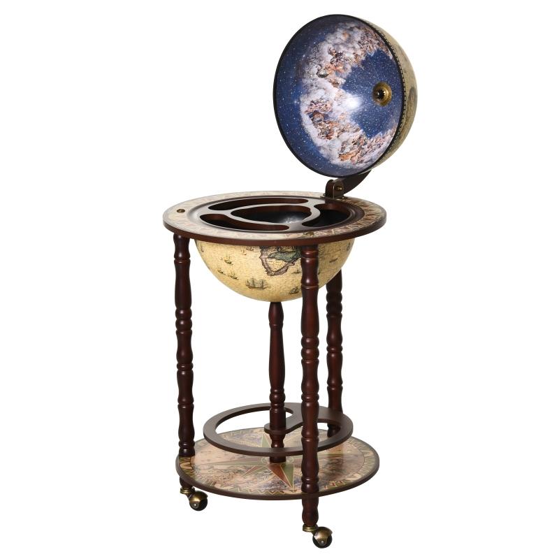 HOMCOM MDF Retro Globe Drinks Cabinet w/ Wheels Brown