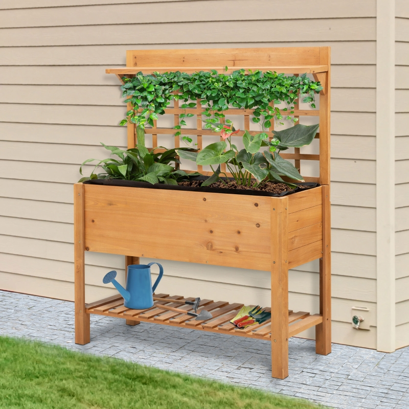 Outsunny Wooden Planter Raised Elevated Garden Bed with 2 Shelves for Vegetables Flowers