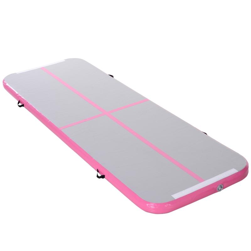 HOMCOM 3m Inflatable PVC Gymnastics Tumbling Mat Pink
