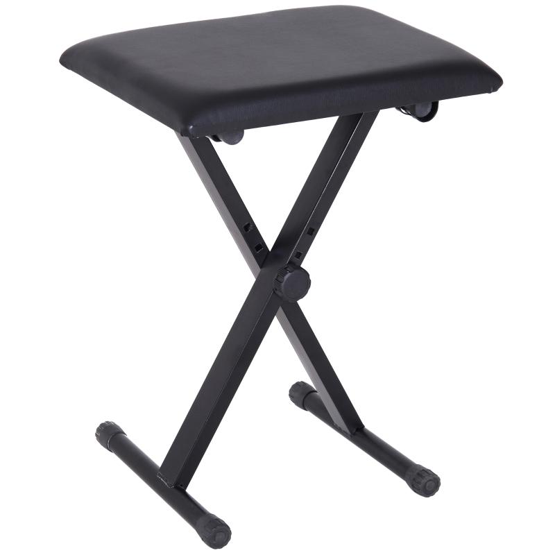 HOMCOM Foldable Keyboard Stool Padded Seat X Frame Chair Adjustable Black