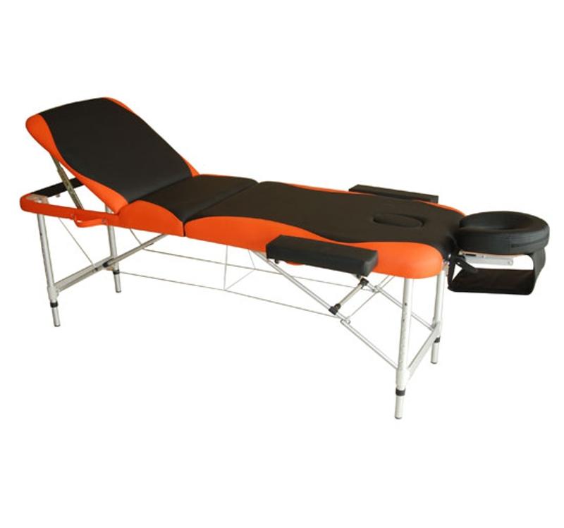 HOMCOM Professional Portable Massage Table W/Headrest-Black/Orange