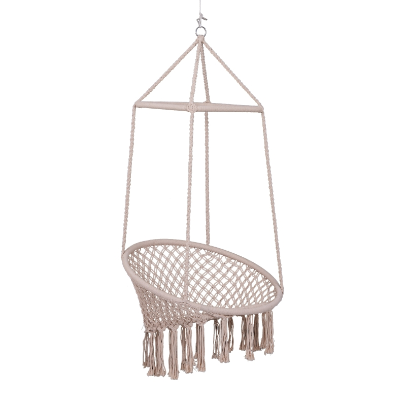 Outsunny Hammock Macrame Swing Chair Hanging Twisted Rope Tassels Indoor Outdoor Beige