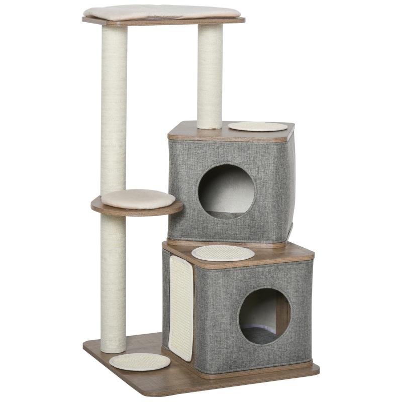 PawHut Multi-Level Cat Tree Tower Activity Center w/ Sisal Carpet Scratching Post