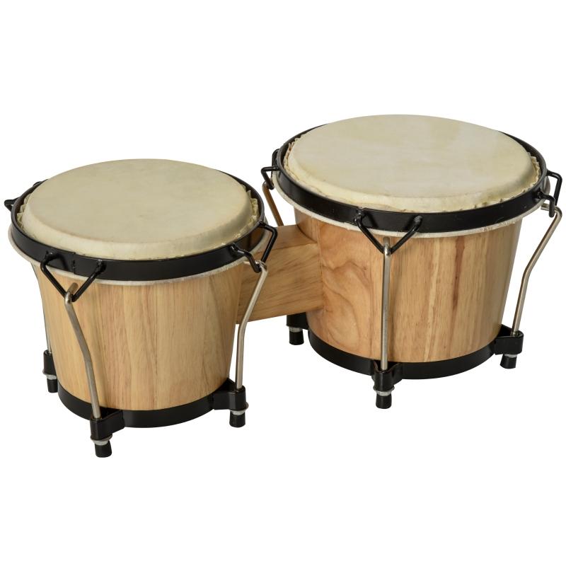 HOMCOM Sheepskin Bongo Drums w/ Tuning Wrench