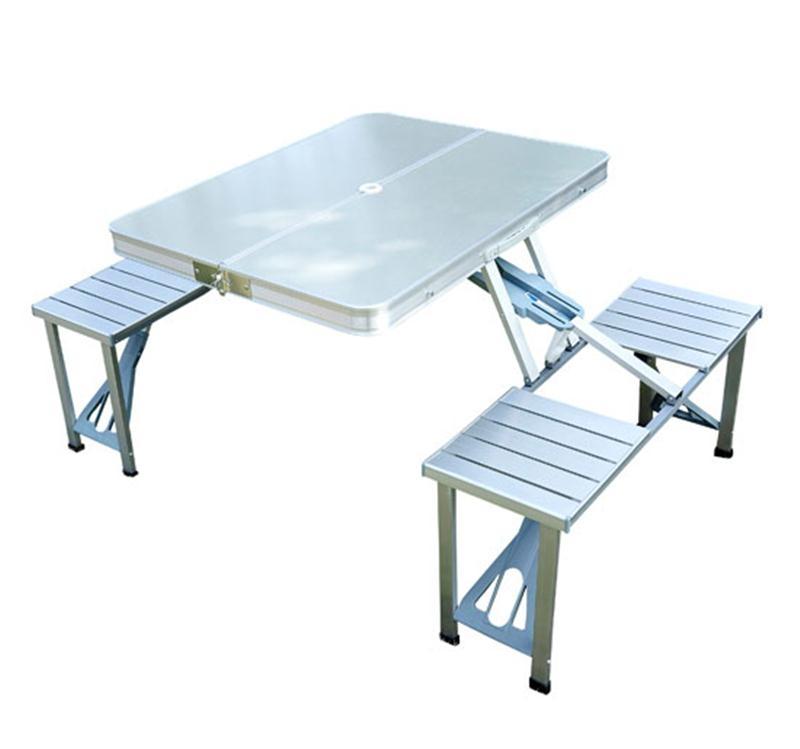 Outsunny Aluminum Portable Picnic Table Chair Set
