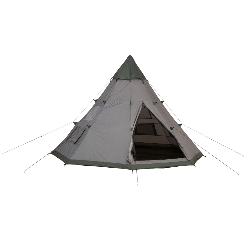 Outsunny 6-Person Outdoor Metal Frame Camping Tent w/ Carrier Bag Grey