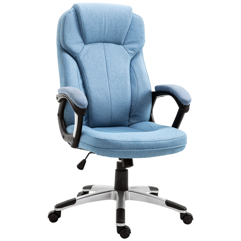Vinsetto Executive Office Gaming Chair Linen Rocking Seat w/ Adjustable Padded Seat & Wheels in Blue