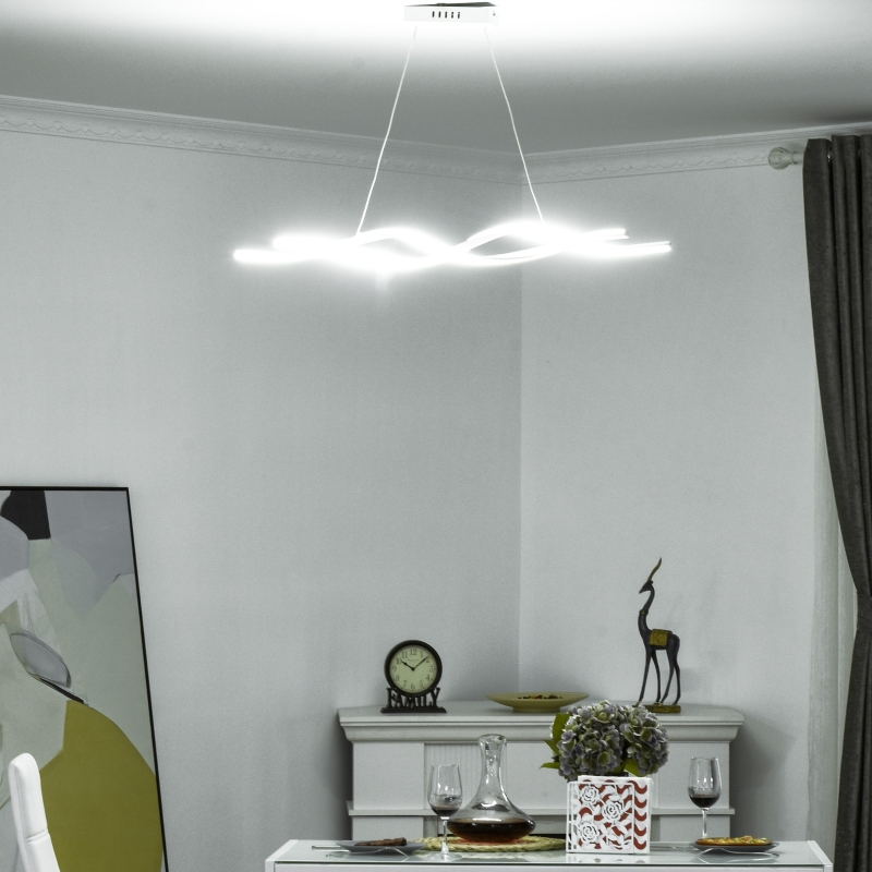 HOMCOM Wave-Shape LED Metal Chandelier with Adjustable Hanging Chain for Home Office