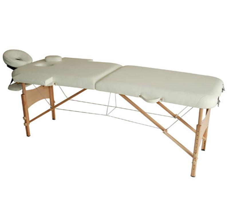 HOMCOM Portable Folding Massage Table, 2 Sections-Cream