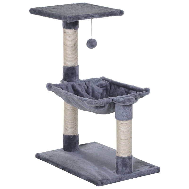PawHut Cats 2-Tier Sisal Rope Scratching Post w/ Dangle Toy Beige