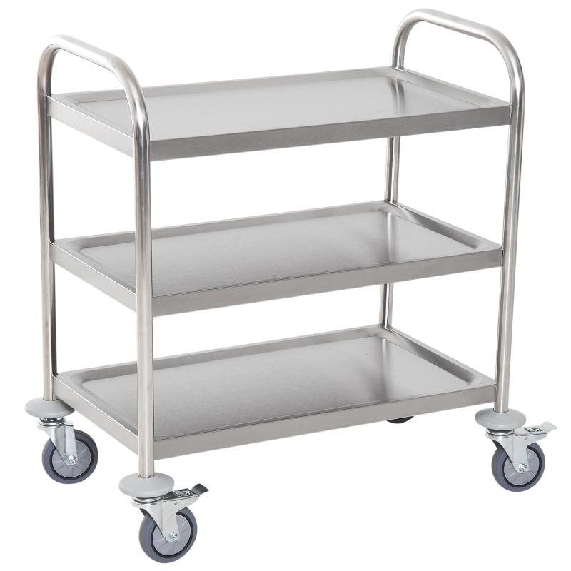 HOMCOM 3-tier Rolling Kitchen Cart Trolley Island Stainless Steel Utility Storage Silver