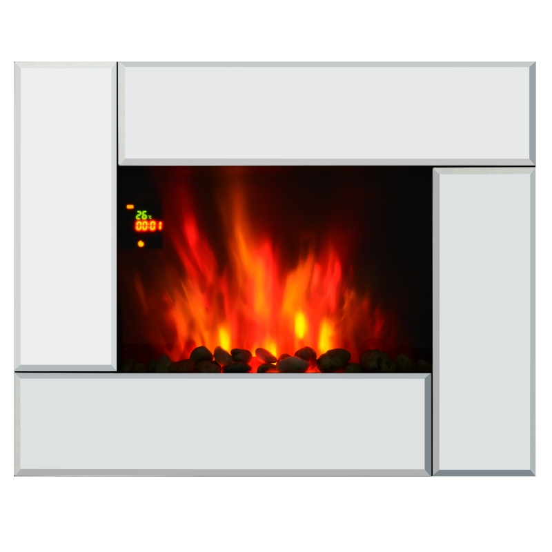 HOMCOM Wall Mount Electric Fireplace Heater, Flame Effect,Tempered Glass-Silver